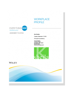 Everything DiSC Workplace Profile, Sheila K Consulting
